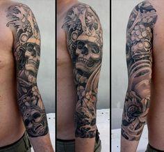 Lotus Scull japanese sleeve tattoo