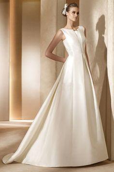 Robe de mariée formelle chic de traîne mi-longue longueur au ras du sol de col entaillé