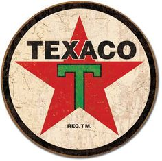 Texaco 1936 Logo Motor Oil Gasoline, round metal tin sign, vintage grunge style, rustic home office garage art wall decor D1798 by HomeDecorGarageArt on Etsy