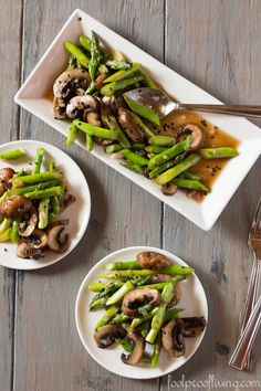 Asparagus and Portobello Mushroom Salad with Asian Dressing