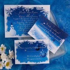 unique blue and white snowflake winter wedding invitation kits EWI090  
