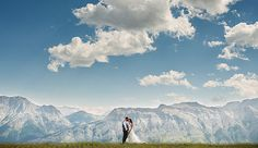 bride and groom in the Rocky Mountains