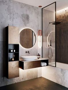 Concrete minimalist modern bathroom with industrial pendant light, floating vani. Concrete minimalist modern bathroom with industrial pendant light, floating vanity, and round mirro Latest Bathroom Designs, Modern Bathroom Design, Bathroom Interior Design, Bath Design, Washroom Design, Vanity Design, Modern Toilet Design, Industrial Bathroom Design, Modern Design