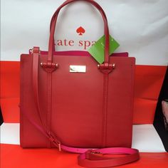 Kate Spade Elodie Satchel RED NWT New and authentic from Kate Spade. Cutest bag ever! Red and gold. Perfect size. kate spade Bags Satchels