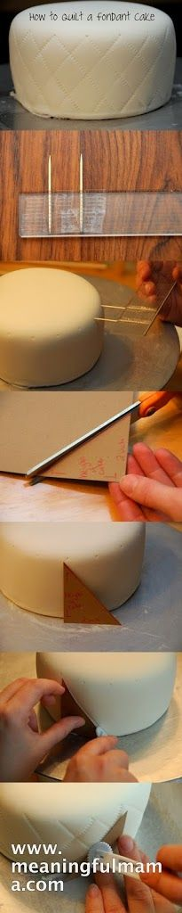 1. Take a ruler and tape two toothpicks 1 inch apart onto the ruler. This becomes the tool for marking the upper edge of your cake. 2. Go al...