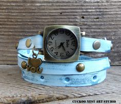 I love you wrap watch, Leather wrist watch for women, Ocean blue watch, Antique brass watch, Gift for her