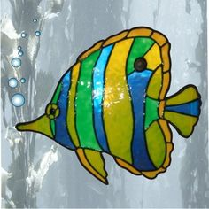 faux stain glass of tropical fish - Yahoo Image Search Results Stained Glass Suncatchers, Faux Stained Glass, Stained Glass Projects, Stained Glass Patterns, Stained Glass Windows, Window Glass, Glass Door, Stained Glass Flowers, Glass Animals
