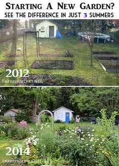 Starting a new garden? See the difference in just 3 summers at http://empressofdirt.net/garden-before-after