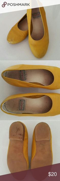 Vintage yellow Kickers slip on These are a lovely yellow leather slip on with small heel. They do have some scuffs and signs of wear but have plenty more life left to bright any outfit. Kickers  Shoes Dress Shoes