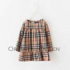 Baby Toddler Children Girls Clothes New Long Sleeve Plaid Dress style Shirt Tops
