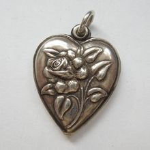 Sterling Silver Puffy Heart Charm - Full-blown Rose