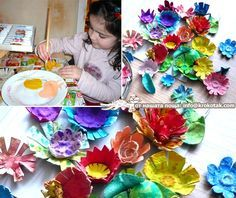 egg carton flowers. Cut out individual egg sections and cut into the edges making the petal. Paint using tempera. Some children can use smaller sections to add to the middle. Spread them apart to create bigger flowers. Glue in the centres. This can be done by the whole class at once.  These would look great arranged on a painted canvas in a sort of trailing effect. Three dimensional art project.