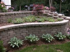 Tumbled Brick retaining wall and stairway with plantings.