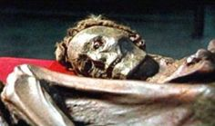 A Tocharian man with red-blond hair; his clear European features still visible after nearly 3,500 years in his desert grave in Taklamakan.