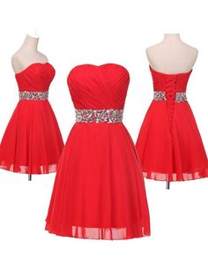 Sinple Dress Strapless Sparkle Red Short Prom Dresses/Homecoming Dresses/Party Dresses CHPD-7219