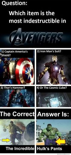lol! but I wouldn't have included Iron Man's suit because it isn't made of adamantium like Cap's shield :P