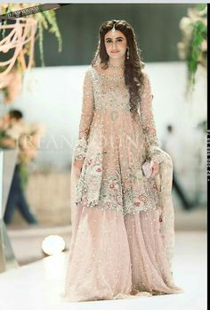 Pakistani Engagement Dresses For Brides In 2020 Pakistani Engagement Dresses, Engagement Dress For Bride, Indian Wedding Gowns, Pakistani Wedding Outfits, Pakistani Bridal Wear, Pakistani Bridal Dresses, Pakistani Wedding Dresses, Bridal Outfits, Bridal Lehenga