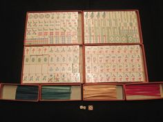 Mah Jongg Milton Bradley Painted Wood Set 1923 unused. Vintage game in original box with 144 wooden tiles that were machine stamped and hand painted.