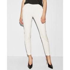 Express Mid Rise White Pinstripe Columnist Ankle Pant ( 80) ❤ liked on  Polyvore featuring c4bf93723898e