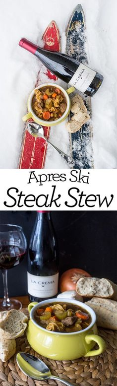 Apres ski steak stew- this is a delicious, hearty meal you can toss into a crockpot before a long day outside!