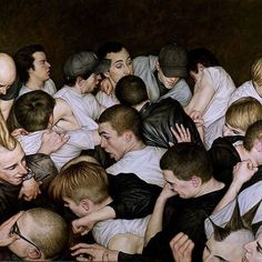 """""""Mosh Pit"""". Audience members at a punk concert moshing in front of the stage oil painting by Dan Witz @danwitzstreetart  USA. Dan Witz has had one of the most sustained careers of any street artist. In recent years Witz has turned to painting mining the city of New York for inspiration and combining traditional and digital tools in his intensive processes. 'Мош пит' зрители на панк-концерте танцуют мош перед сценой картина маслом Дэна Уитца США. Дэн Уитц один из немногих кто посвятил много…"""