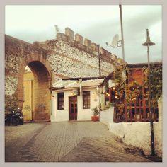 The gate at Makedoniko tavern. (Walking Thessaloniki, Route Upper Town c) Thessaloniki, Ancient Greek, Gate, Macedonia Greece, Louvre, Uber, Building, Walking, Icons