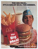 """1971 MCDONALD'S vintage print advertisement """"The Big Meal"""" ~ The Big Meal. Its A Great Deal For Dinner. Grab the Big Meal at McDonald's. And you'll have yourself a Big Mac, a very large order of fries and a great big drink. You deserve a break today. Mcdonald's Restaurant, Vintage Restaurant, Fast Food Restaurant, Restaurant History, Restaurant Uniforms, Restaurant Marketing, Restaurant Branding, Mcdonalds, Retro Ads"""