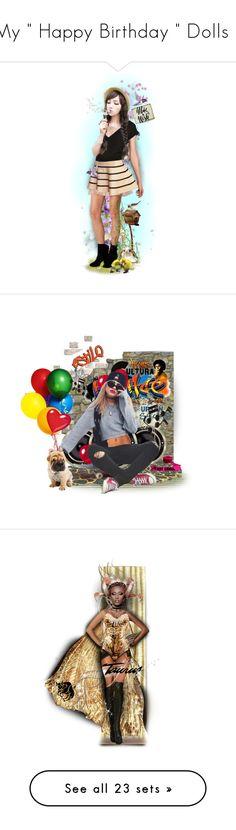 """My "" Happy Birthday "" Dolls :)"" by mari-777 ❤ liked on Polyvore featuring art, Dolce&Gabbana, Zara Home, vintage, birthday, doll, july, happybirthday, party and topset"