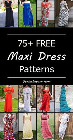 Lots of free maxi dress patterns for women. #dresspatterns #diyclothes #freesewingpatterns
