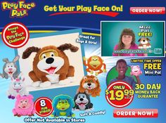 Play Face Pals are plush animals which have bendable faces that allow them to be shaped into a variety of expressions. Read our Play Face Pals review.