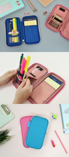 The Folding Pencil Pouch is one of many adorable and functional products in the MochiThings collection. Cool Pencil Cases, Diy Pencil Case, Pencil Pouch, Planners, Diy Case, Diy Notebook, Diy School Supplies, Diy For Teens, Clutch Wallet