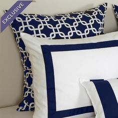 Product for sale features a blue and white link design and is pictured behind two accent pillows. Cotton Euro sham with a blue and white . Blue Pillows, Accent Pillows, Throw Pillows, Ivy League Style, Euro Shams, Pillow Talk, Joss And Main, Beautiful Bedrooms, Signature Style