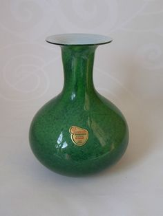 JOSKA Bodenmais Kristall Glas Vase grün H 18,5 cm GERMANY mundgeblasen 80er