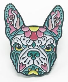 French Bulldog Pink and Teal Sugar Skull Tattoo Breed Dog Lover Enamel Laptop Pin