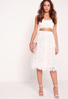 Missguided - Crochet Lace Full Midi Skirt White