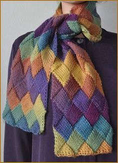 Knitting Patterns Galore - Entrelac Scarf