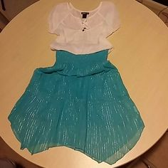 Two ways: dress/skirt size 10/12 GIRLS aqua color with silver thread Dresses Casual