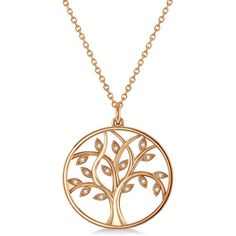 Allurez Medium Diamond Tree of Life Pendant Necklace 14k Rose Gold... ($995) ❤ liked on Polyvore featuring jewelry, rose, rose gold jewelry, pendant necklaces, pink jewelry, diamond pendant jewelry and pink diamond jewelry