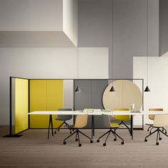 office with Parentesit freestanding space devider, Catifa chairs and Meety table by LievoreAltherr molina