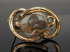 10k Gold Victorian Mourning Hair Locket Brooch with Pearls