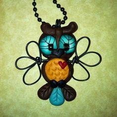 Hooty Owl Necklace Polymer Clay Jewelry
