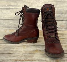 Womens Cowboy Work Boots Lace Up Size 9 M Brown Leather Double H Cowgirl Shoes #DoubleH #CowboyWestern