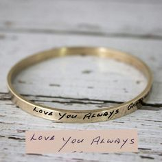 This is such a special shop and shop owner Caroline does such great work transferring these special messages to keychains, bracelets, rings, necklaces and more. Such a beautiful and special sentimentalt gift for a loved one.  scriptedjewelry.etsy.com