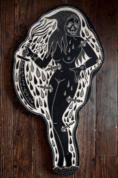 Tattoo inspired symbolic woodcuts by Bryn Perrott (deerjerk