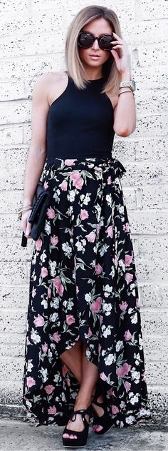 #fashion #outfits  Black Top & Black Flower Print Maxi Skirt & Black Pumps