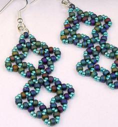 Handmade blue seed bead earrings, Artisan made right angle weave long dangle earrings