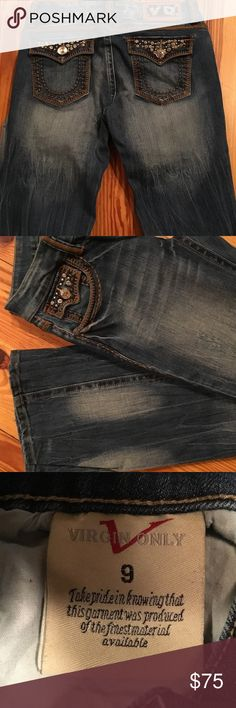 """NWOT BUCKLE VIRGIN ONLY VO JEANS NWOT VIRGIN ONLY JEANS. Purchased at Buckle but never worn. Lots of cute studded embellishments, nice stitching and just the right amount of distressing add a lot of personality to these jeans! 41"""" long 33"""" inseam. These jeans are long enough to wear with a heel! In BRAND NEW NEVER WORN CONDITION and no fraying at the hem. FROM MY CLEAN NON SMOKING HOME. Check out my other items as I am cleaning out closets and listing a lot of good stuff! I do bundle. Thanks…"""
