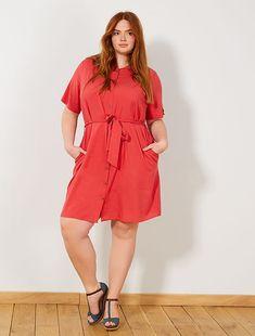 eb97e79653a Robe chemise imprimée Grande taille femme - rouge à 18