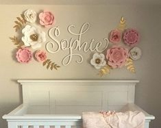 Image result for nursery name middle name above crib flowers