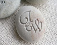 Interlocking Monogram Pebble - engraved stone for couple, anniversary, engagement, wedding - double sided engraving by sjEngraving